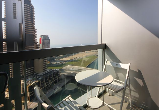 Enjoy the balcony views from this Cayan Tower Holiday Rental in Dubai